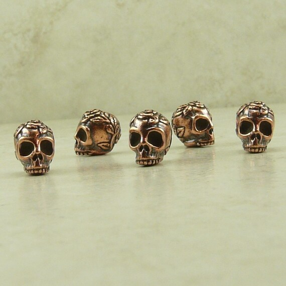 5 TierraCast Rose Skull Beads > Halloween Day of the Dead Goth Gothic - Copper plated Lead Free Pewter- I ship internationally - 5685