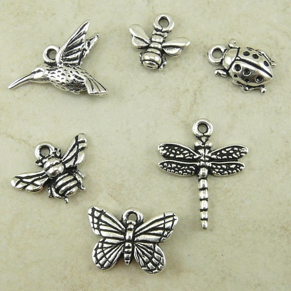 6 TierraCast Birds & Bees Insect Charms Mix Pack > Humming Bird Dragon Fly Lady Bug Silver Plated Lead Free Pewter I ship Internationally a1