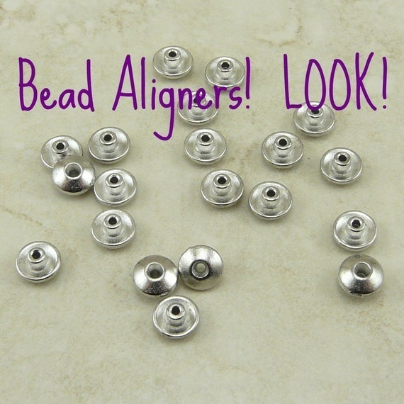 20 TierraCast Bead 6mm Classic Bead Aligner Bead Caps > Large Hole Lampwork - Rhodium Plated Lead Free Pewter - I ship Internationally 5719