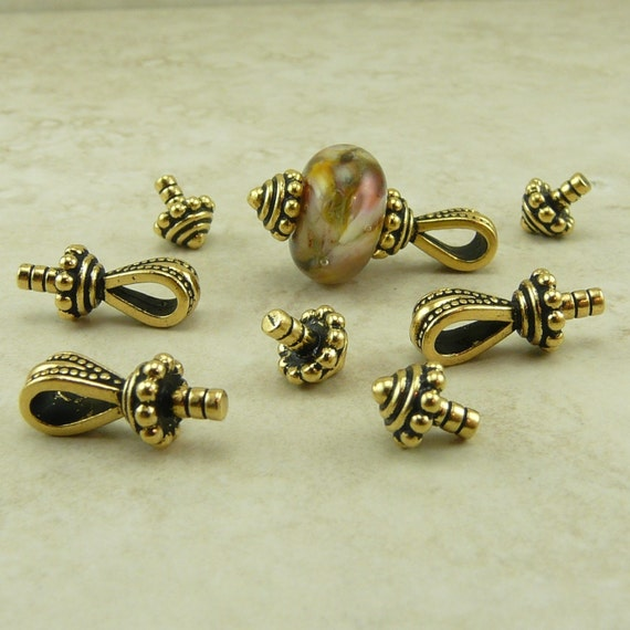 4 Sets TierraCast Royal Bails Glue In with caps > 22kt Gold-plated Lead Free Pewter - I ship Internationally