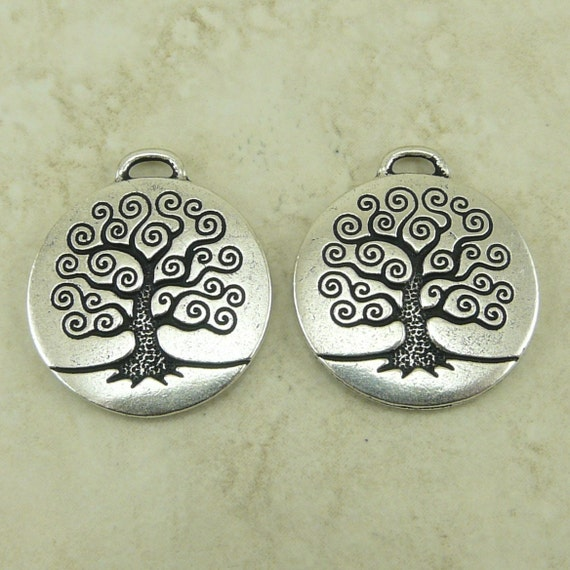 2 Large TierraCast Spiral Tree of Life Pendant Charms > Bodhi Spiritual Yoga - Silver-plated Lead Free Pewter - I ship Internationally 2304