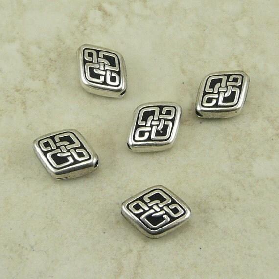 Long Celtic Diamond bead - TierraCast Silver Plated LEAD FREE Pewter