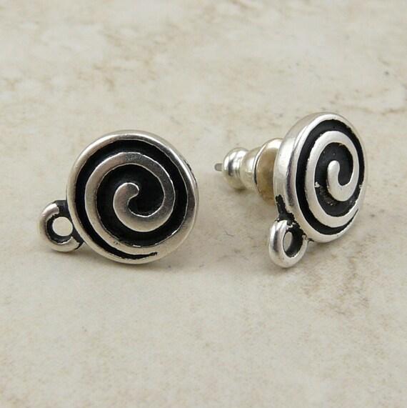 1 Pair TierraCast Spiral Earring Posts > Celtic Swirl Swoosh Zen Beadable -cFine Silver Plated Lead Free Pewter I ship Internationally 1071