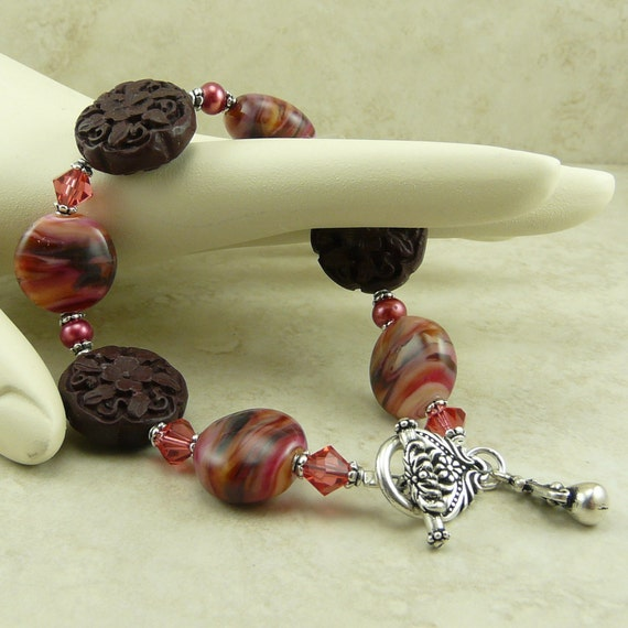 Persimmon Swirled Lampwork and Carved Cinnabar Flower Wood Beads, Pearls and Swarovski Crystals -  Bead Bracelet - I ship Internationally