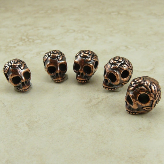 5 TierraCast Horizontal Large Hole Rose Skull Beads > Day of The Dead Halloween Copper Plated Lead Free Pewter- I ship internationally 5715