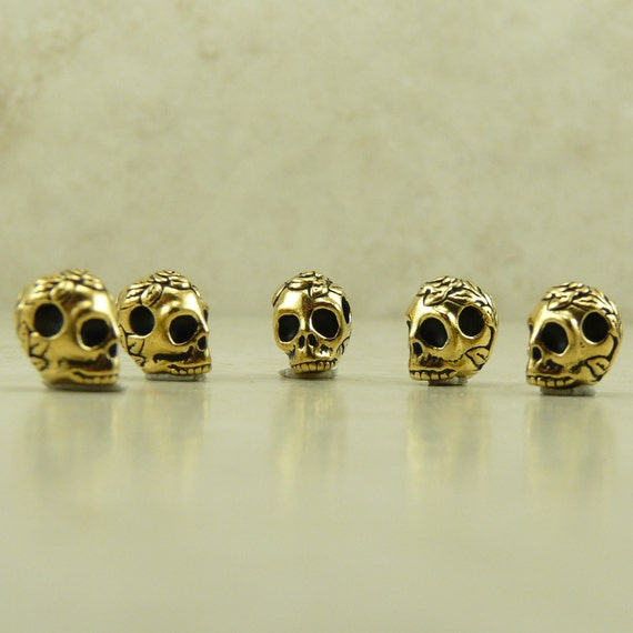 5 TierraCast Horizontal Large Hole Rose Flower Skull Beads > Gothic Halloween  22kt Gold Plated Lead-Free Pewter I ship internationally 5715