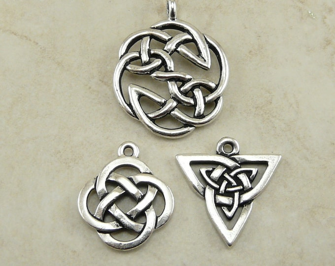 Featured listing image: 3 TierraCast Open Celtic Knot Pendant Charms Mix Pack > St Patricks Day -TierraCast Silver Plated Lead Free Pewter Ship Internationally  a6