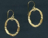 Tiny Hand Etched Gold Oval Earrings