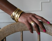 Etched Stackable Rings - Gold Plate - 1 ring