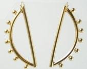 Small Half Moon Sculptured Gold Earring