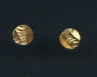 Tiny Reticulated Vermeil Circle Post Earrings