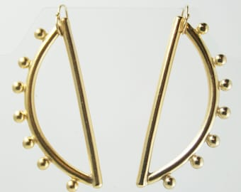 Small Half Moon Sculptured Gold Earring