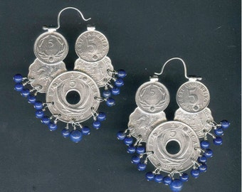 Silver Coin Earrings with Lapis