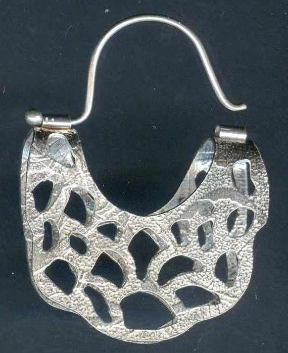Large Textured Sterling Silver Cutout Folded Hoop Earring