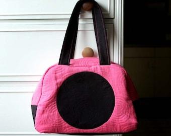 Peptastic handbag, pink handbag, bag with dots, purse with dots, pink purse, pink shoulder bag, black and pink bag, retro purse