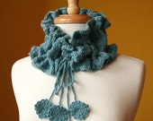 SALE - Luxurious Knit Wool and Bamboo Collar - Victoriana Scarflette - READY to SHIP