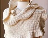 Knit Rococo Shawl - Organic Cotton - Romantic Shrug Bolero Wrap Option for Brides, Weddings - Ivory Cream - Eco-Chic