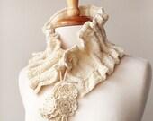 Fiber Art Scarf - Luxurious Organic Merino Wool Knit Scarflette - Ivory Cream - Victoriana