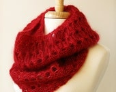 Winter Scarf - Knit Infinity Scarf - Women's Fashion Accessories - Mohair and Silk Knit Cowl Snood - Red - ElenaRosenberg