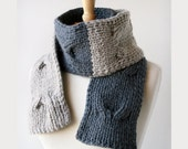 Color Blocked Unisex Knit Cable Scarf - Organic Merino Wool - Light and Dark Grey