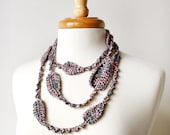 Wearable Fiber Art Jewelry - Silk Crochet Necklace / Lariat No. 7 - Blush & Grey - Lovely for Spring and Summer
