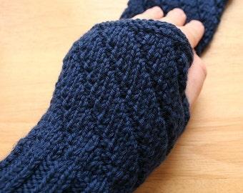 Darting Diagonals Fingerless Gloves. Navy Blue Merino Wool Knit Mitts / Gauntlets for Men and  Women