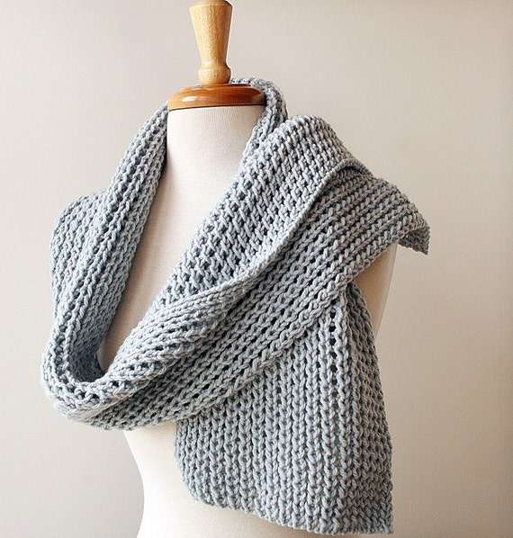 Chunky Knit Scarf - Light Grey Merino Wool Handmade Wrap - Made in the US by Designer Elena Rosenberg