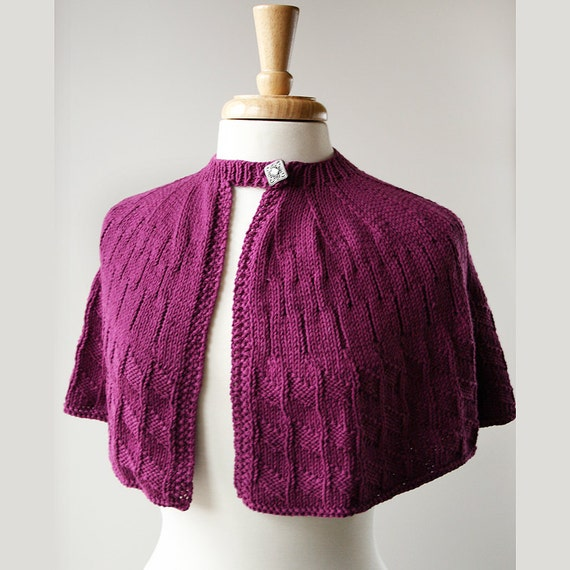 SAMPLE SALE - Women Fall Fashion - Knit Capelet - Cotton and Wool - Retro - Purple Plum