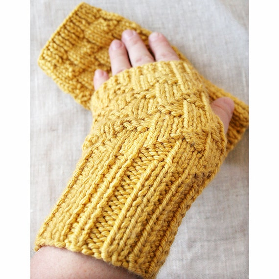 Fall Accessories - Fingerless Gloves / Gauntlets - Merino Wool and Cashmere - Golden Yellow