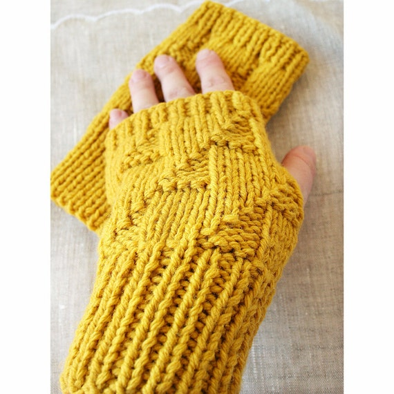 Spring Fashion Accessories - Fingerless Gloves / Gauntlets - Merino Wool - Mustard Yellow