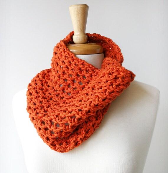 Sample SALE - Fall Fashion - Cotton Hand-Knit Cowl Neckwarmer - Orange Tangerine Tango