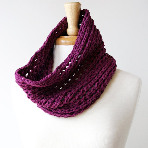 Sample SALE - Fall Fashion - Cotton Blend Hand-Knit Cowl Neckwarmer - Purple Violet