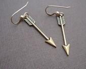 petite golden arrow earrings 14kt gold filled earrings