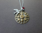 follow yourself brass compass necklace sterling silver chain