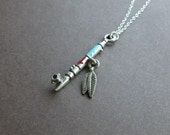 peace pipe necklace in pewter and sterling silver