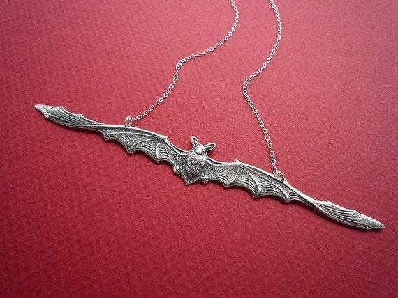 skinny bat necklace in silver