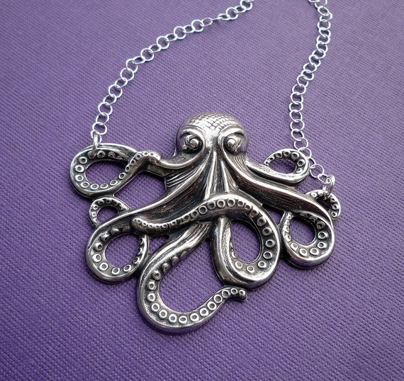 silver octopus necklace sterling silver chain