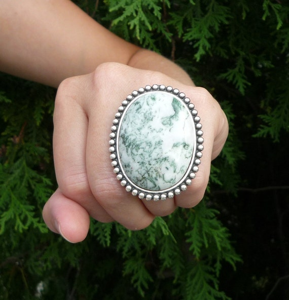 the perfect cocktail ring in tree agate and silver statement ring