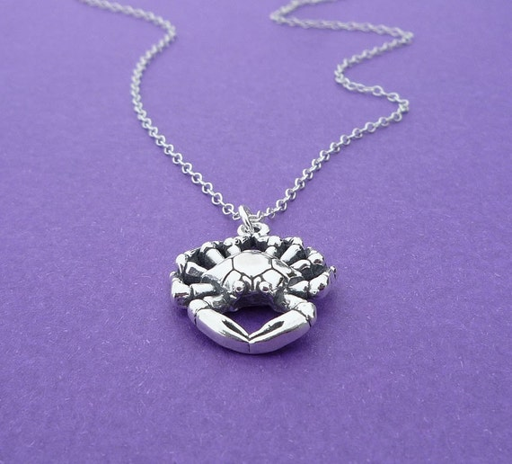 sterling silver crab charm necklace gift for her cancer zodiac sign