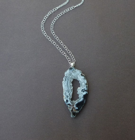 long agate black and white geode necklace in sterling silver