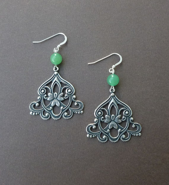 green aventurine and silver filigree earrings