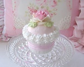 Sweet n Shabby Large Pink with Pink Rose Faux Cupcake