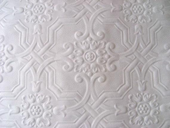 white embossed paintable wallpaper