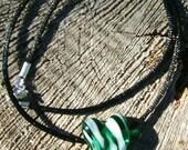 SALE Swirled Green Lampwork Heart Pendant SALE