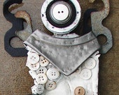 Recycled Artwork Angel White Buttons - Recycled Mixed Media Sculpture - Found Object Art