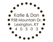 Custom Address Stamp, circle stamp, personalized rubber stamp - 958