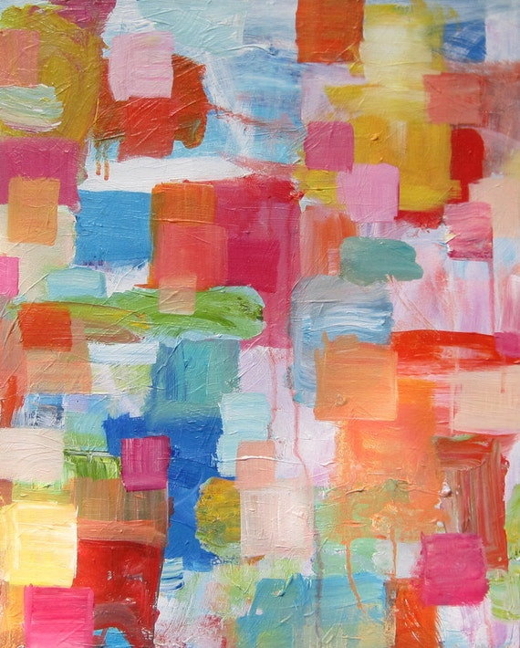 Abstract Original Acrylic Painting Canvas Modern Contemporary Colorful Sherbet