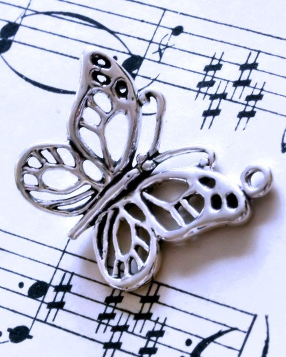 destash...sales...925 sterling silver open weave butterfly charms 22mmx19mmx4mm