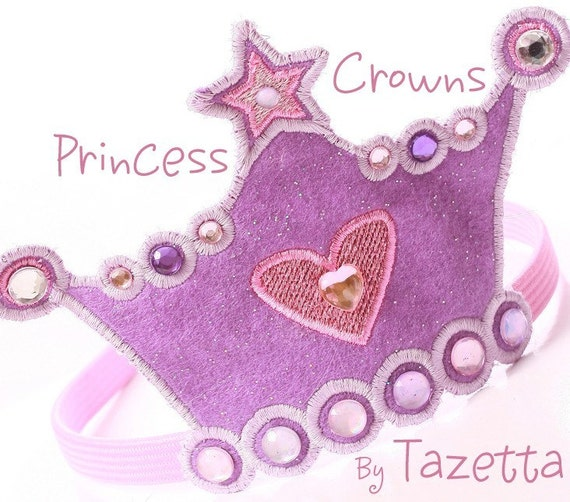 Items similar to Princess Crown Applique Embroidery Design ...