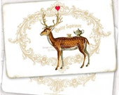 Woodland Deer French Note Cards Teapot and Teacup Antlers decorated with a Red Heart